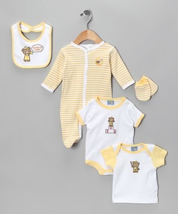 Yellow 'Hang In There' Five-Piece Layette Set