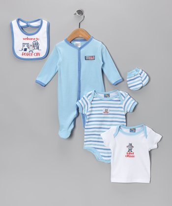 Blue 'Robot City' Layette Set
