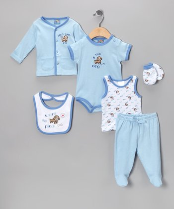 Sweet & Soft Blue 'Want to Play' Six-Piece Layette Set - Infant