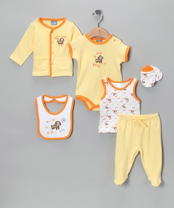 Sweet & Soft Yellow 'Want to Play' Six-Piece Layette Set - Infant