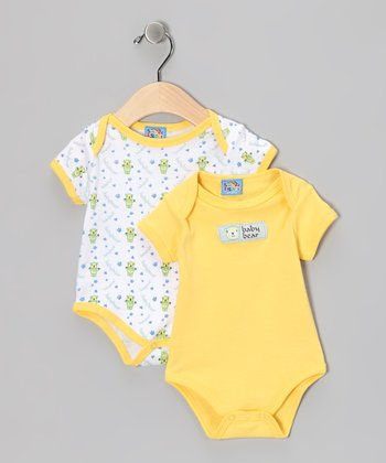 Sweet & Soft Yellow 'Baby Bear' Bodysuit Set