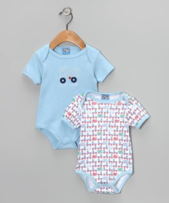 Light Blue 'Truck' Bodysuit Set - Infant