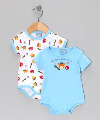 Light Blue 'Baseball' Bodysuit Set - Infant