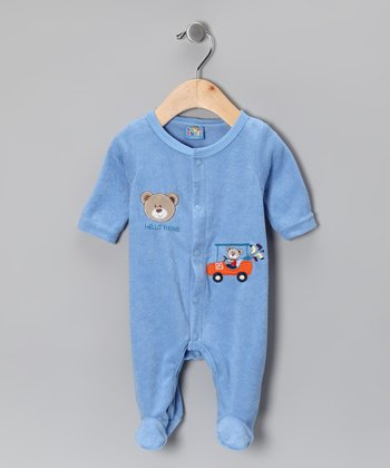Blue 'Hello There' Footie - Infant