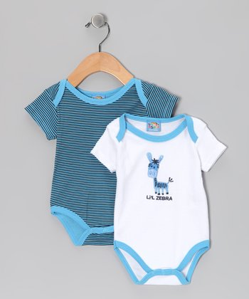 Blue 'Lil Zebra' Bodysuit Set