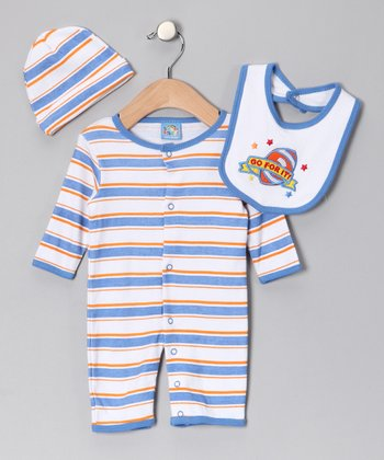 Blue 'Go for It' Playsuit Set