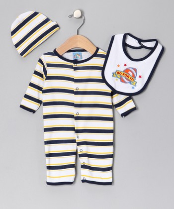 Navy 'Go for It' Playsuit Set