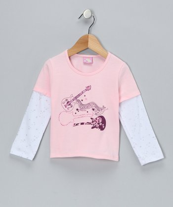 Pink Guitar Layered Tee - Infant