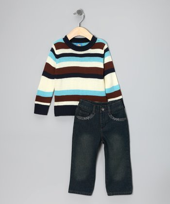 Sweet & Soft Navy Stripe Sweater & Jeans - Infant & Toddler