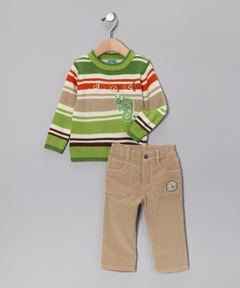 Apple 'Rainforest' Sweater & Pants - Infant & Toddler