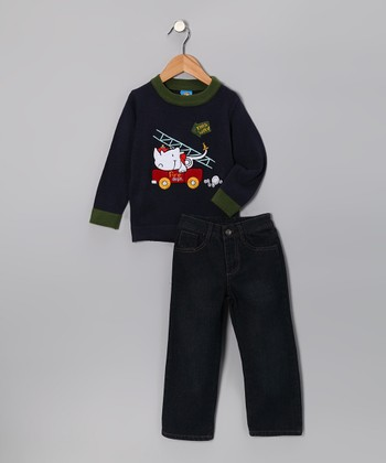 Sweet & Soft Navy Rhino Sweater & Jeans - Infant & Toddler