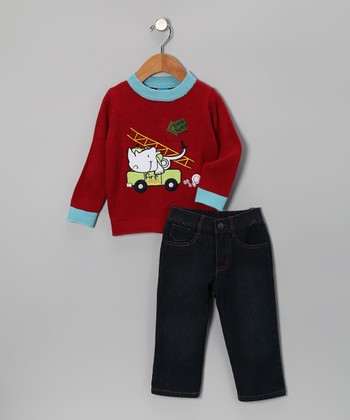Sweet & Soft Red Rhino Sweater & Jeans - Infant & Toddler