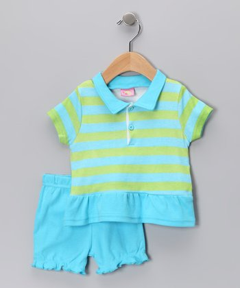 Blue & Green Stripe Polo & Bloomers - Infant
