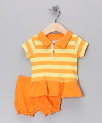Orange Stripe Polo & Bloomers - Infant
