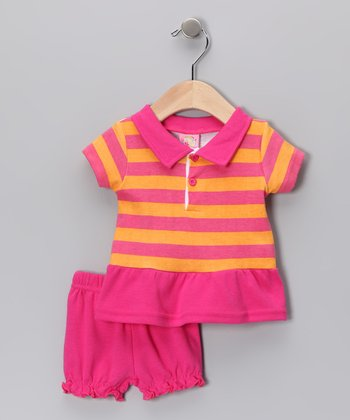 Sweet & Soft Pink Stripe Polo & Bloomers - Infant