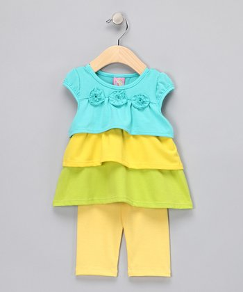 Yellow & Blue Tiered Tunic & Leggings - Infant