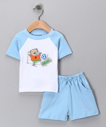 Sweet & Soft Blue 'Goal' Raglan Tee & Shorts - Infant