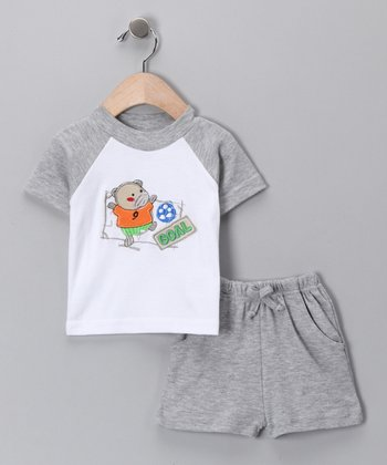 Sweet & Soft Gray 'Goal' Raglan Tee & Shorts - Infant