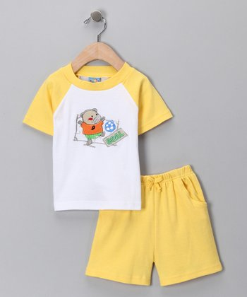 Sweet & Soft Yellow 'Goal' Raglan Tee & Shorts - Infant