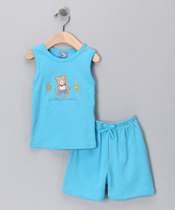 Sweet & Soft Blue Bear Tank & Shorts - Infant
