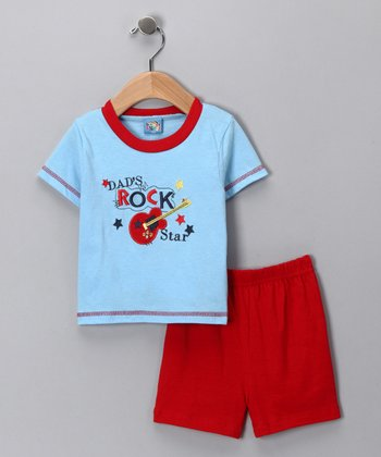 Blue 'Dad's Rock Star' Tee & Shorts