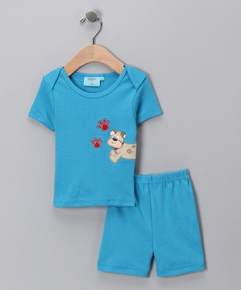 Sweet & Soft Blue Puppy Tee & Shorts - Infant