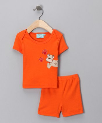 Sweet & Soft Orange Puppy Tee & Shorts - Infant