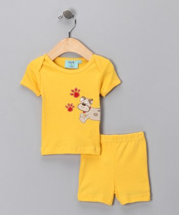 Sweet & Soft Yellow Puppy Tee & Shorts - Infant