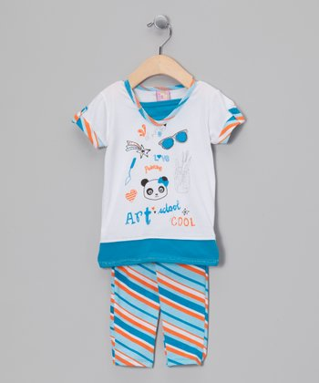 White & Blue 'Art School' Tunic & Leggings - Infant & Toddler