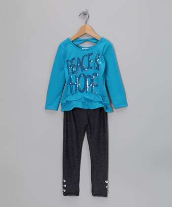 Blue 'Peace Hope' Tunic & Denim Jeggings - Infant & Toddler