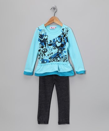 Blue 'Love' Tunic & Denim Jeggings - Toddler