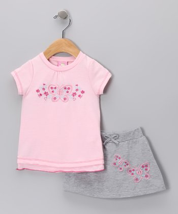 Pink & Gray Butterfly Tee & Skirt