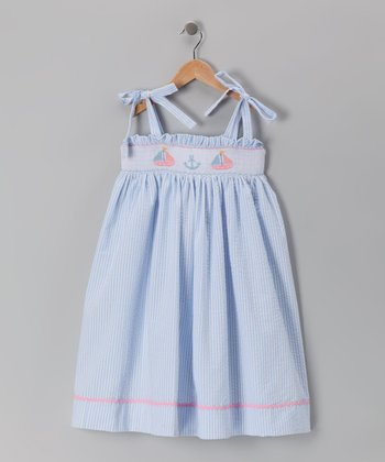 Blue Sailboat Smocked Dress - Toddler & Girls