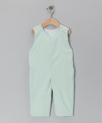 Blue & Green Plaid Overalls - Infant & Toddler