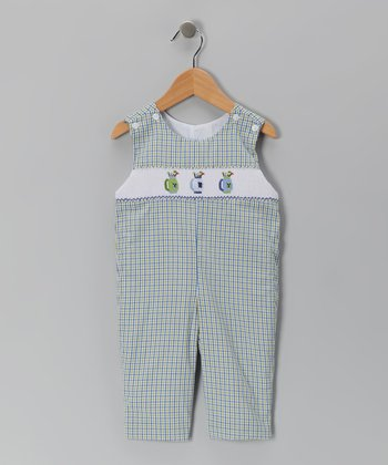 Blue & Green Golf Smocked Overalls - Toddler
