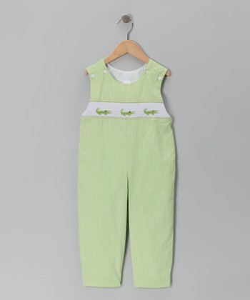 Green Gingham Alligator Smocked Overalls - Toddler