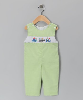 Green Balloon Animal Smocked Overalls - Infant & Toddler