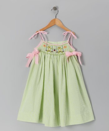 Green Swinging Frog Tie Dress - Girls