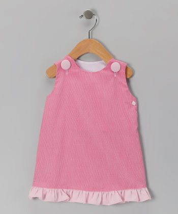 Pink Gingham Ruffle Jumper - Girls