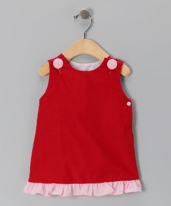 Red Ruffle Corduroy Jumper - Infant, Toddler & Girls