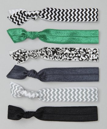 Black & Green Zigzag Hair Tie Set
