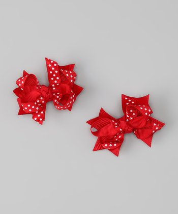 Red Polka Dot Bow Clip - Set of Two