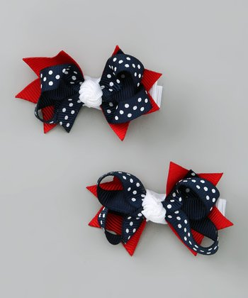 USA Polka Dot Bloom Clip Set