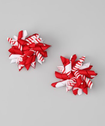 Red Stripe Korker Clip - Set of Two