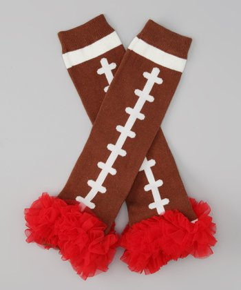 Red Ruffle Football Leg Warmers