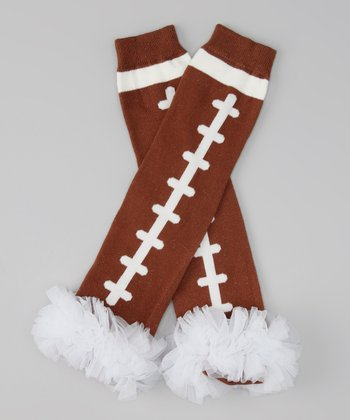 White Ruffle Football Leg Warmers