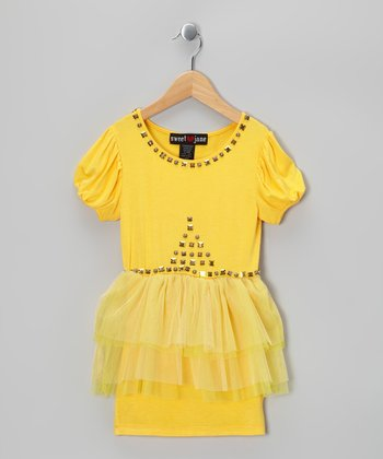 Yellow Rhinestone Tulle Tier Dress - Girls
