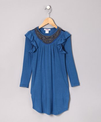 Blue Indigo Layered Shift Dress - Girls