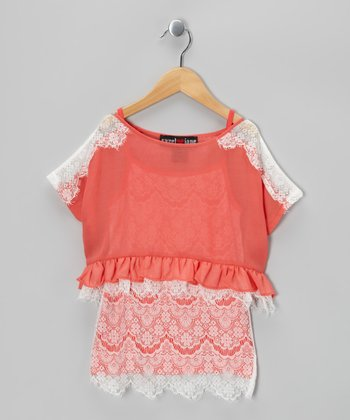 Coral Lace Crop Top & Tank - Girls