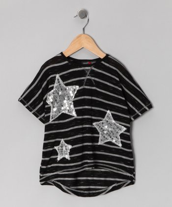 Black Stripe Star Top - Girls